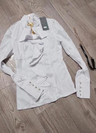 Блуза блузка рубашка на худенькую девушку или подростка белоснежная стрейчевая