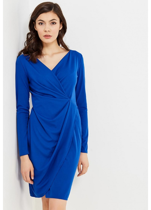 Кобальтовое платье mango с драпировкой s-m