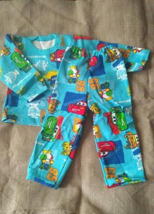 Нова пижама байка тачки на 1-1,5 роки голубая