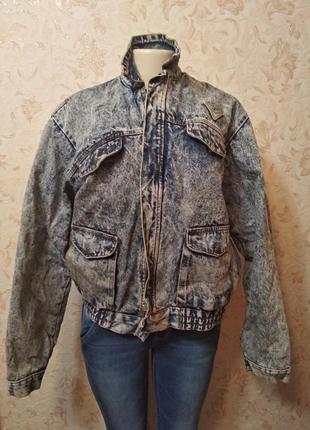 Винтажная джинсовая куртка джинсовка утепленая оверсайз