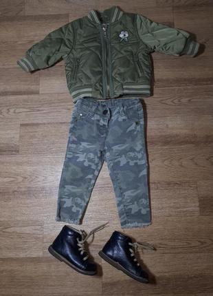 Модный комплект куртка и джинсы next на 6-9 месяцев
