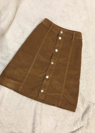 Трендовая вельветовая юбка на пуговицах