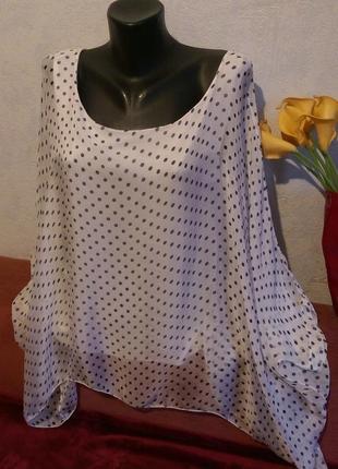 Натуральный шелк,нежная летящяя блузочка в горошек,свободный крой,италия,л