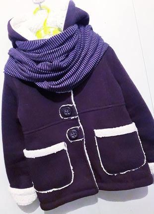 Стильное баклажановое деми пальто/парка/дублёнка на овчинке с капюшоном в стиле zara.