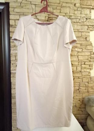 Пудровое классическое платье-футляр,миди, большого размера,