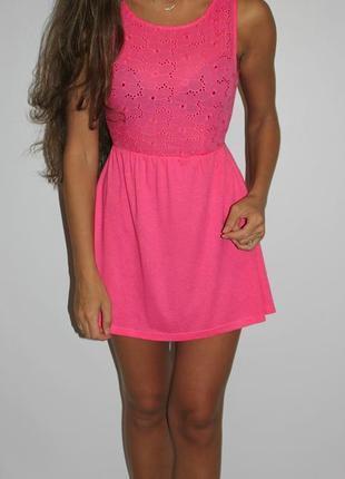 Розовое платье с прошвой, спинка открыта -- уценка на все платья 300ед --