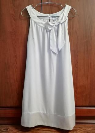 Нежно-нюдовое шифоновое утонченное базовое платье h&m, р. 40/l/48