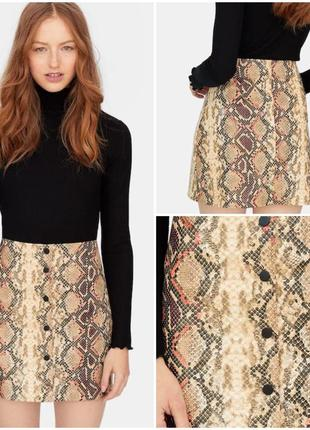 Кожаная юбка змеиный принт на пуговицах / юбка трапеция змеиная кожа тренд этого сезона