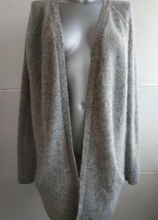Стильный  вязаный кардиган h&m базового серого цвета с боковыми объемными карманами