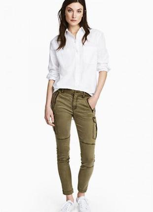Оригинальные брюки из смесового лиоцелла от бренда h&m разм. 36, 42