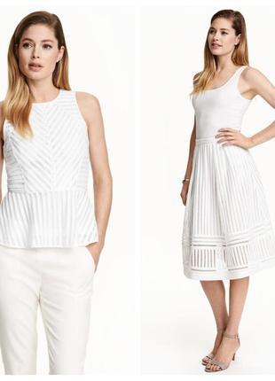 Костюм белый h&m топ + юбка колокол белая кружевная летняя оригинал по колено миди лето