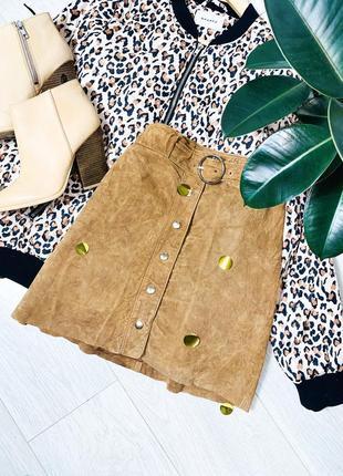 Кожаная коричневая юбка о т zara с поясом