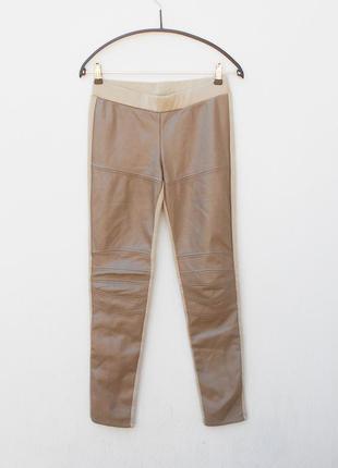 Классические брюки леггинсы с кожаными вставками