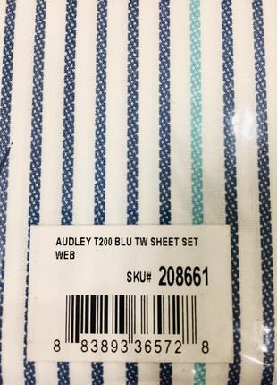 """Комплект: 2 простыни на резинке, размер twin (полуторный), 100% хлопок, """"nautica"""", сша4 фото"""