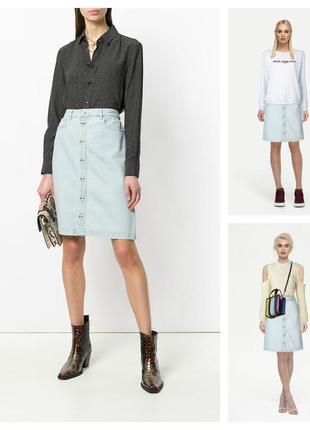Джинсова спідниця ніжно голубого кольору на гудзики/джинсовая юбка