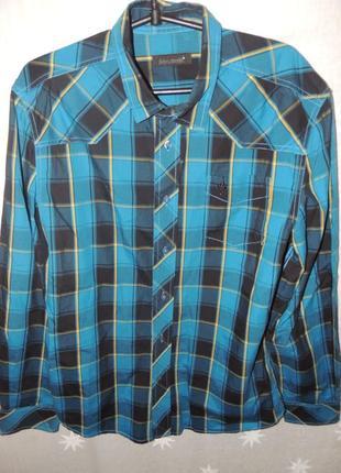 Очень качественная стильная хлопковая рубашка john devin l