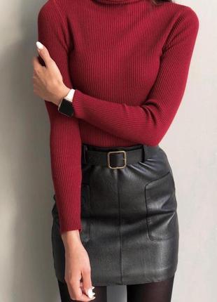Юбка из экокожи с карманами черного цвета @womens.online.showroom