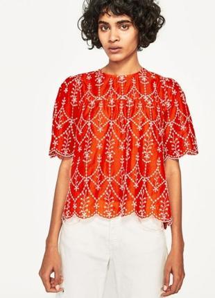 Топ блуза из хлопка прошва с вышивкой zara