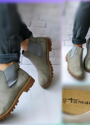 40р кожа,нубук!новые tamaris германия,утепленные ботинки,челси,серые