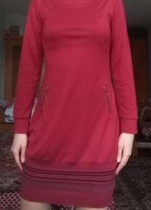 Красивое осенне-весеннее красное платье cu&mu
