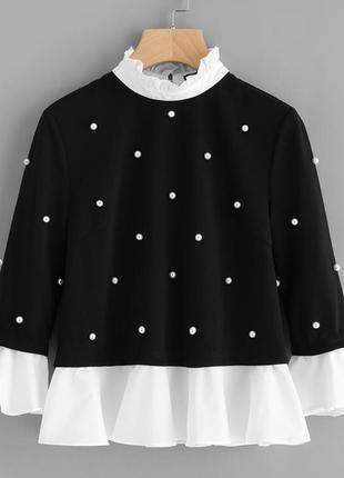 Женская блуза украшенная жемчужинами с красивым воротником,sip14