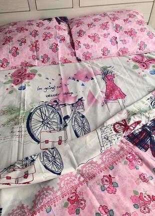 Полуторное постельное для девочки натуральная ткань