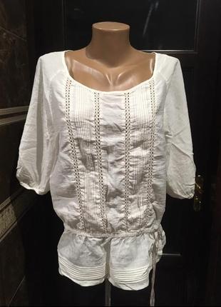 Белая этно блуза 48 р