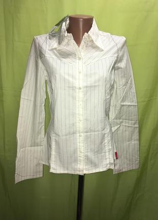 Белая рубашка в полоску 48 р
