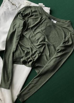 Стильний лонгслів кольору хакі від h&m, укорочена футболка з рукавами