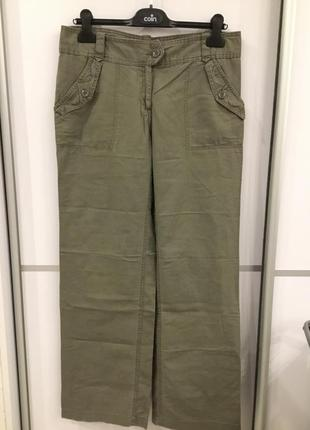 Льняные штаны широкие h&m