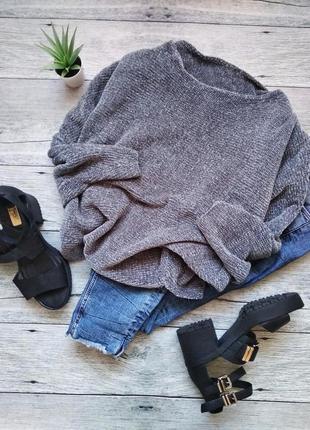 🌿 серый вязаный велюровый / плюшевый укороченный свитер bershka