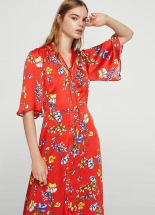 Цветочное платье миди  mango