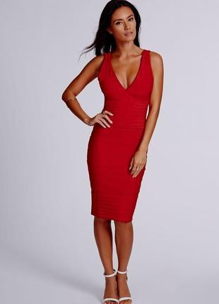 Missguided красное эффектное платье 8- размер