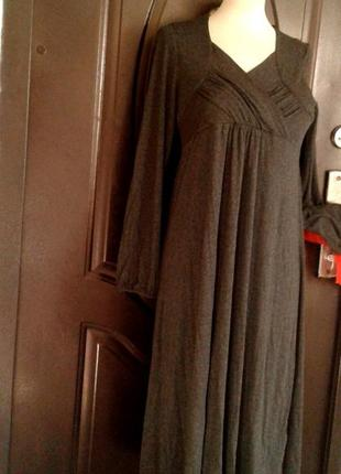 Серое вискозное трикотажное платье, м.5 фото