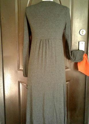 Серое вискозное трикотажное платье, м.3 фото