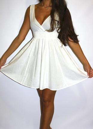Белое платье h&m  - ткань хлопок ( срочная уценка платьев 300ед )