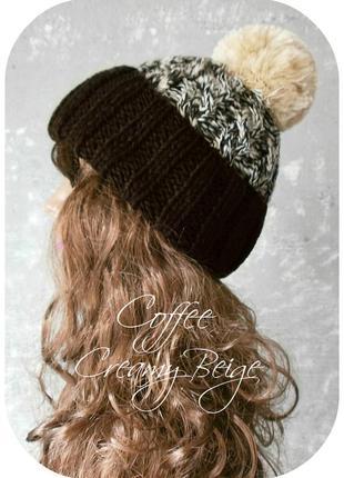 Любая расцветка! хлопковая шапка с отворотом/помпон/косы/кофе, сливочный беж/меланж