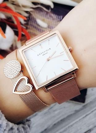 Часы в стиле rosefield, годинник, женские часы  с белым циферблатом в упаковке.