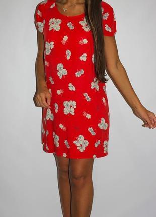Ярко красное платье в цветах - в жизни очень красивое! --срочно --