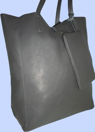 Шикарная большая сумка шоппер натуральная кожа vera pelle италия