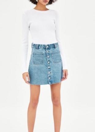 Джинсовая юбка zara на пуговицах высокая талия голубая оригинал