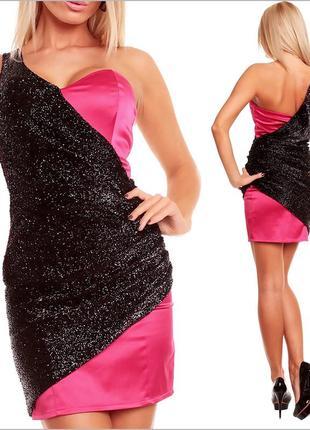 Вечернее черно-розовое платье3