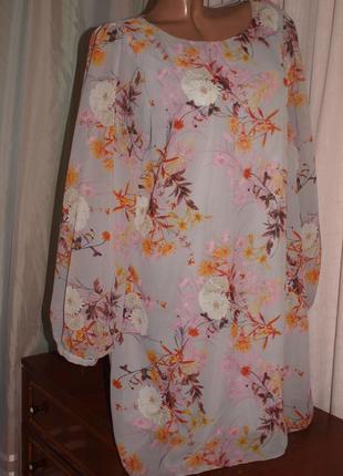 Красивое шифоновое платье (ххл замеры) нежное, с узором, превосходно смотрится