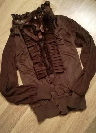 Эффектная замшевая нарядная блуза-рубашка с жабо,воротник стойка бант,плиссировка рукав