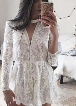 Стильный белый ромпер кружевной комбинезон шорты