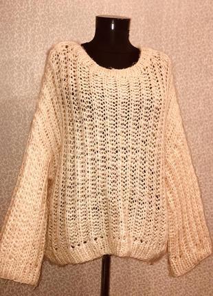Мега крутой свитер оверсайз  крупной вязки цвета пудра2 фото