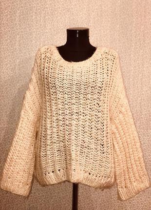 Мега крутой свитер оверсайз  крупной вязки цвета пудра3 фото