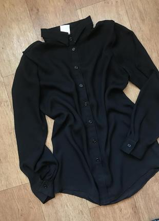 Базовая рубашка чёрная шифоновая легкая свободная м