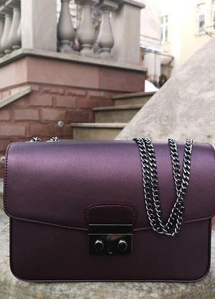 Сумка кожаная италия натуральная кожа баклажан фиолет новая клатч кроссбоди