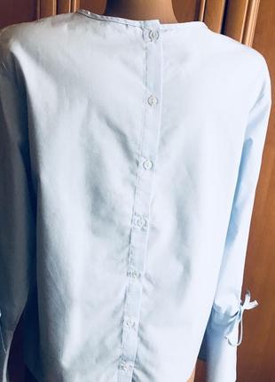 Хлопковая блуза голубого цвета7